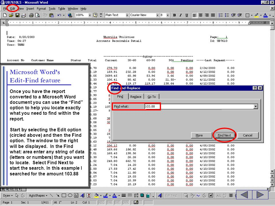 Microsoft Word's Edit-Find feature
