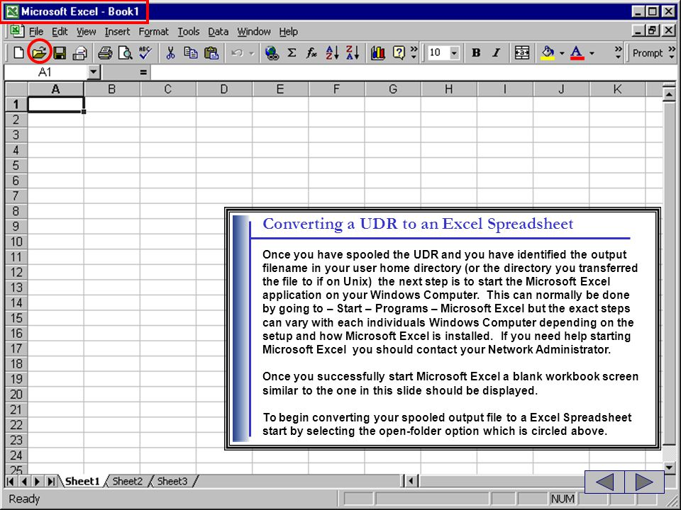Converting a UDR to an Excel Spreadsheet