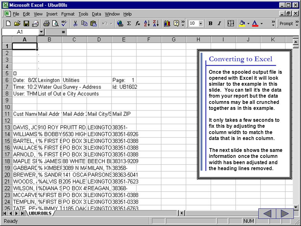 Converting to Excel