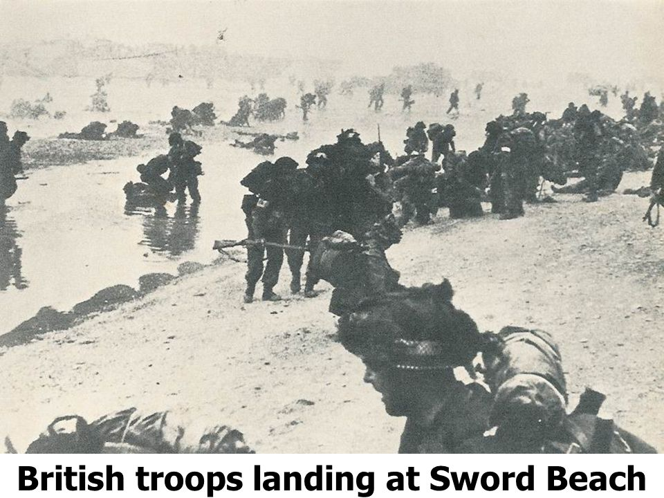 British troops landing at Sword Beach