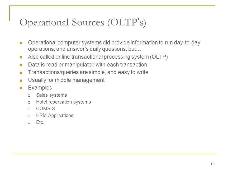 Operational Sources (OLTP's)
