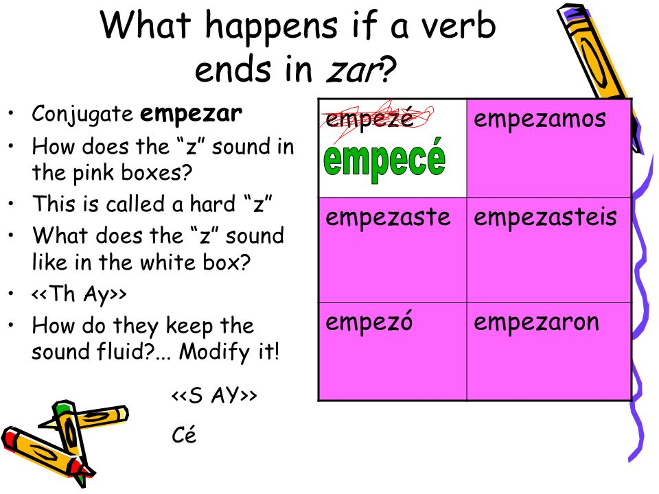 What happens if a verb ends in zar