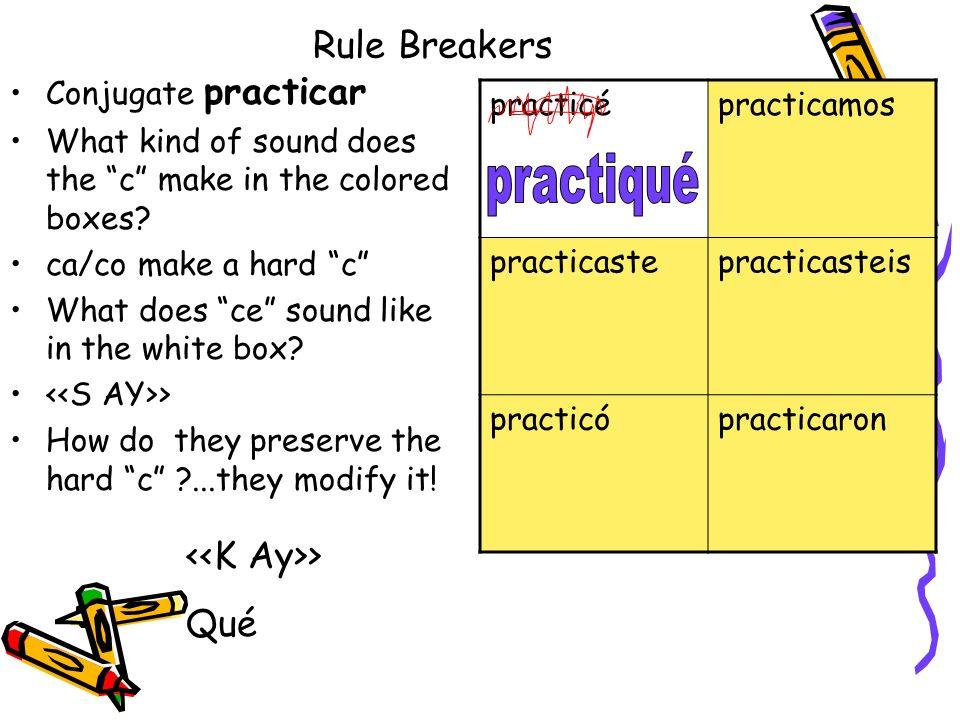 practiqué Rule Breakers <<K Ay>> Qué Conjugate practicar