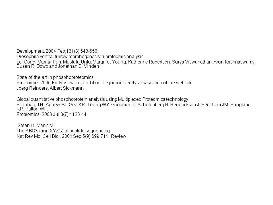 Development. 2004 Feb;131(3):643-656. Drosophila ventral furrow morphogenesis: a proteomic analysis.