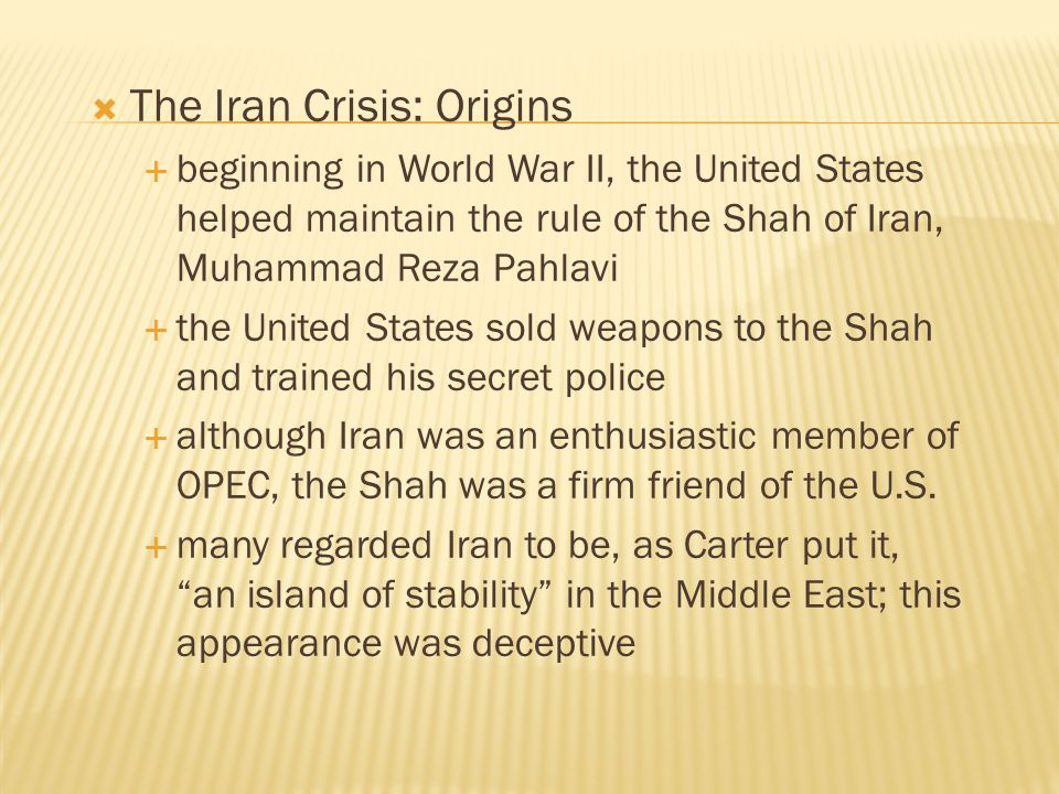 The Iran Crisis: Origins