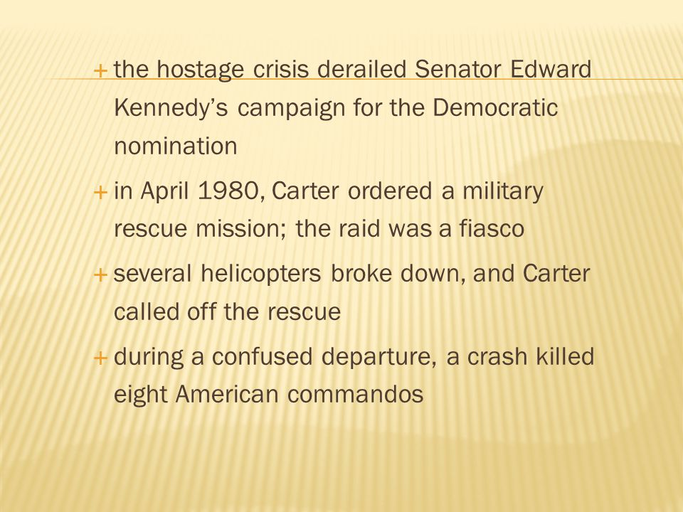 the hostage crisis derailed Senator Edward Kennedy's campaign for the Democratic nomination