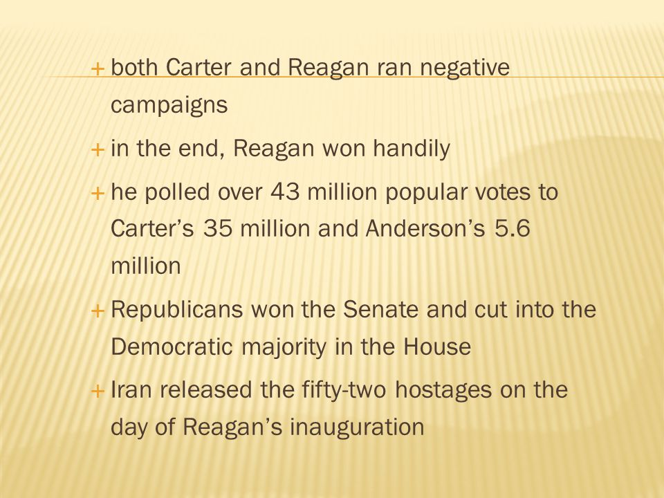 both Carter and Reagan ran negative campaigns