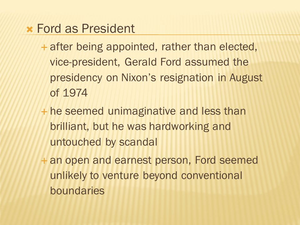 Ford as President