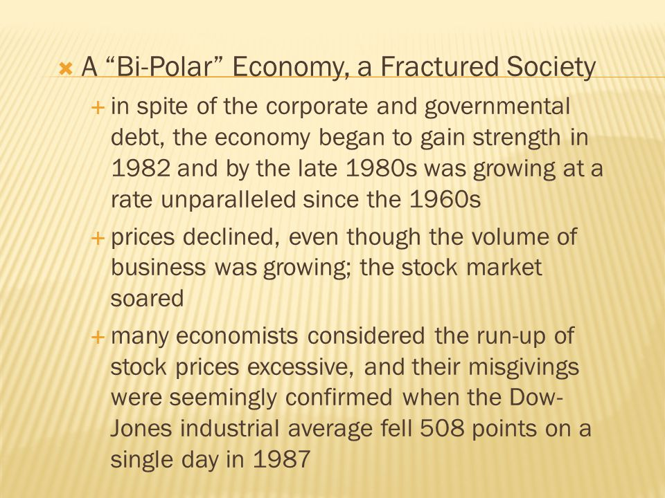 A Bi-Polar Economy, a Fractured Society