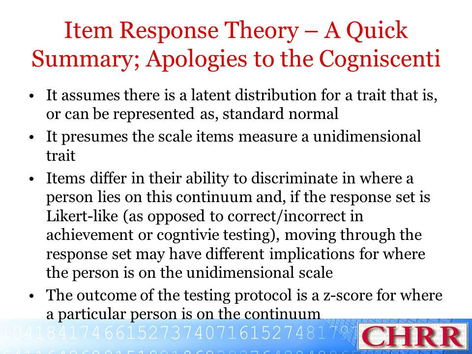 Item Response Theory – A Quick Summary; Apologies to the Cogniscenti
