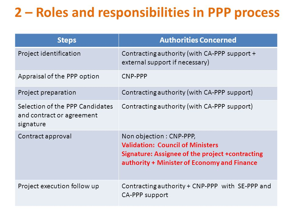 2 – Roles and responsibilities in PPP process