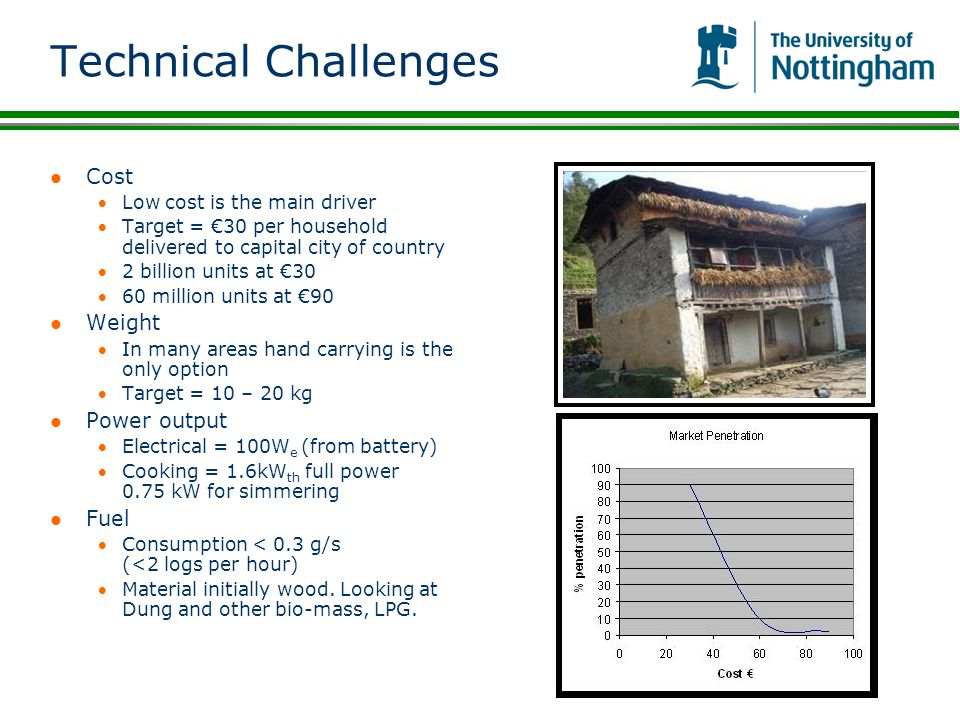 Technical Challenges Cost Weight Power output Fuel