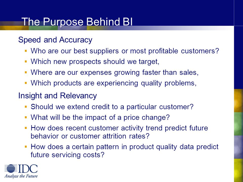 The Purpose Behind BI Speed and Accuracy Insight and Relevancy