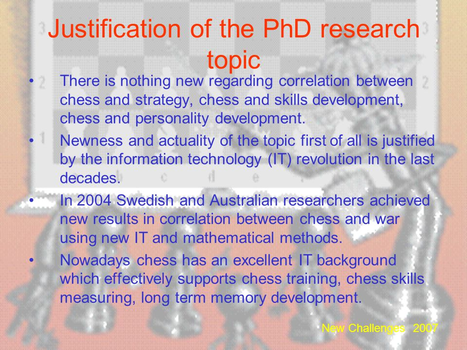 Justification of the PhD research topic