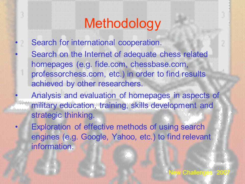 Methodology Search for international cooperation.