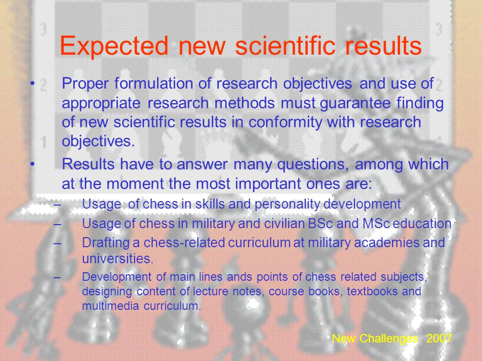 Expected new scientific results