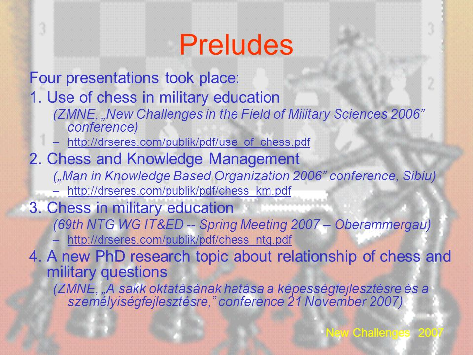Preludes Four presentations took place: