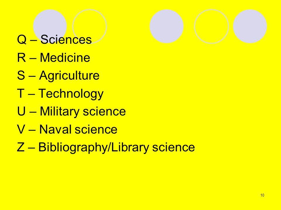 Q – SciencesR – Medicine. S – Agriculture. T – Technology. U – Military science. V – Naval science.