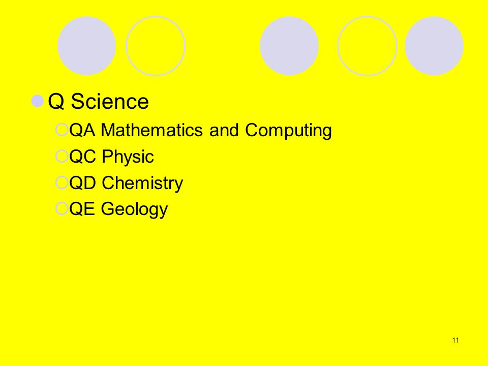 Q Science QA Mathematics and Computing QC Physic QD Chemistry