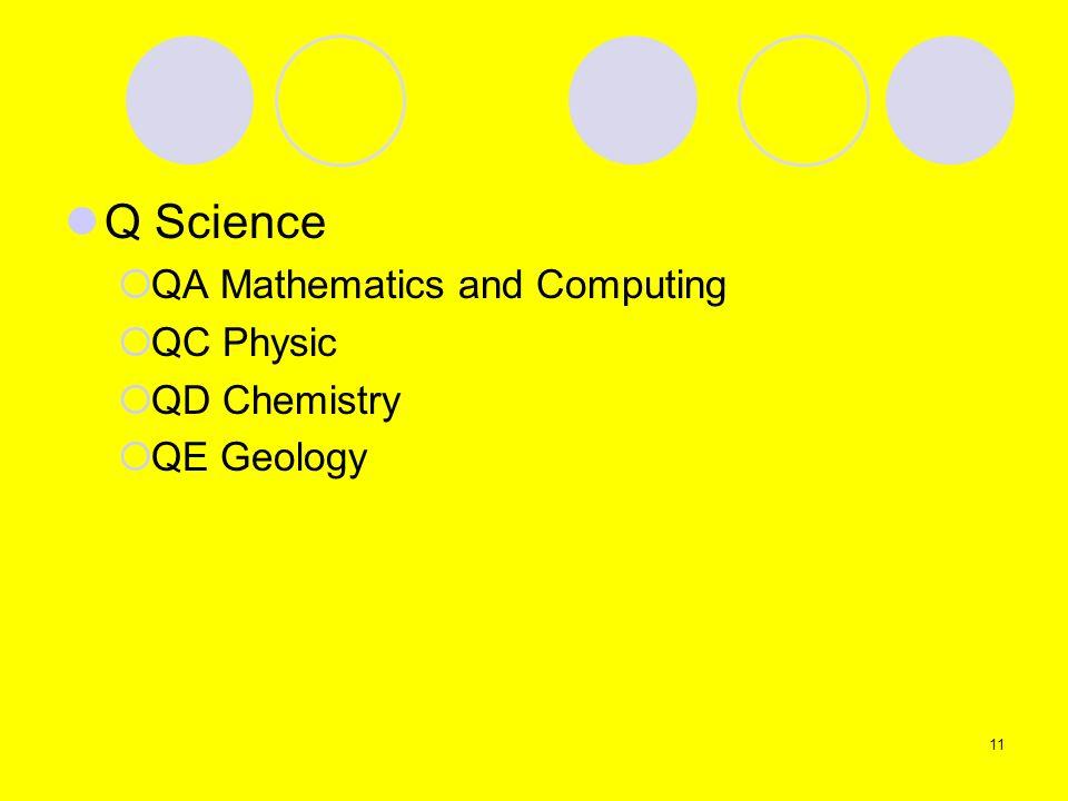Q Science QA Mathematics and Computing QC Physic QD Chemistry