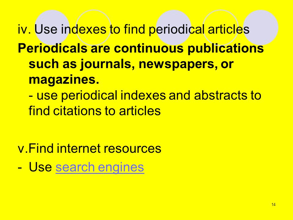 iv. Use indexes to find periodical articles