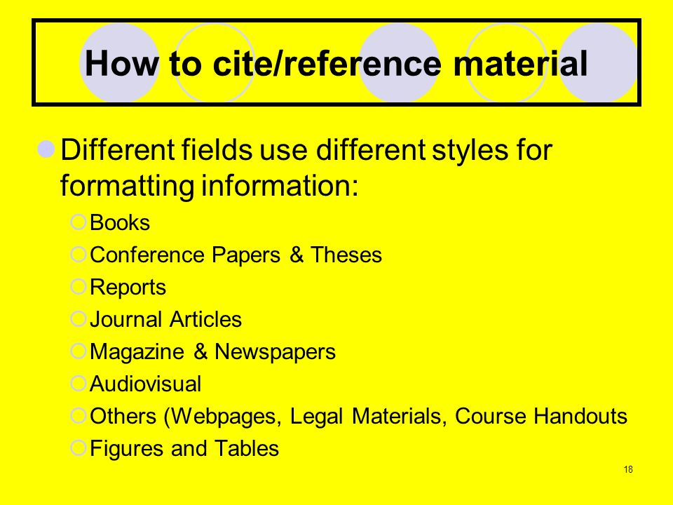 How to cite/reference material