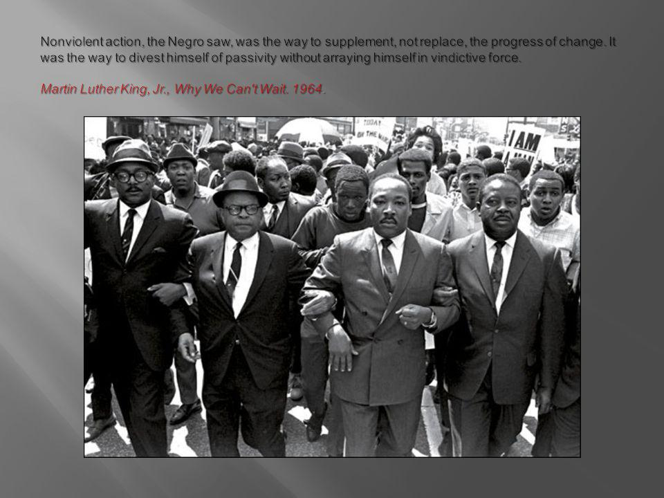 Nonviolent action, the Negro saw, was the way to supplement, not replace, the progress of change.