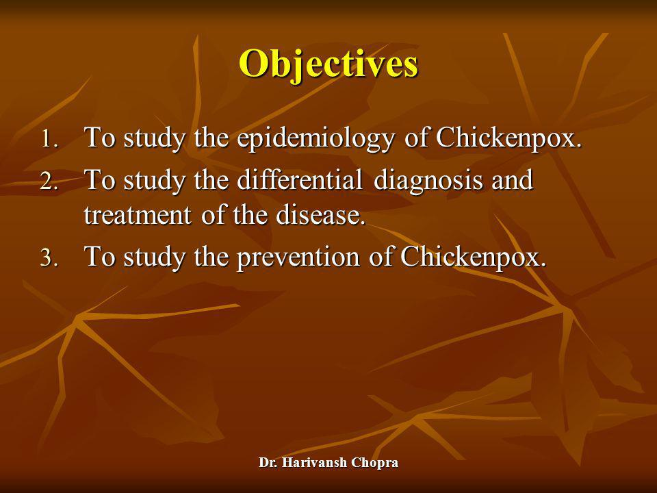 Objectives To study the epidemiology of Chickenpox.