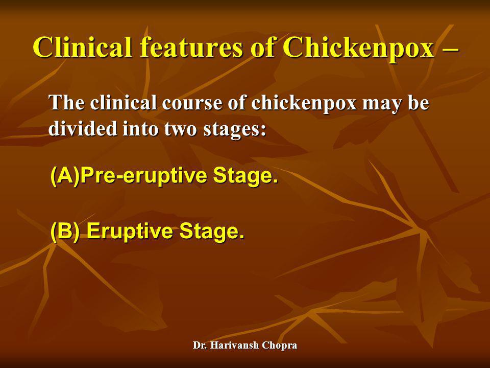 Clinical features of Chickenpox –