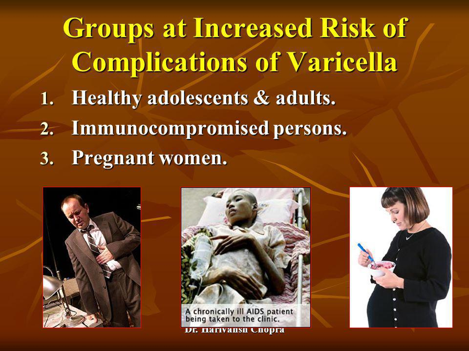 Groups at Increased Risk of Complications of Varicella