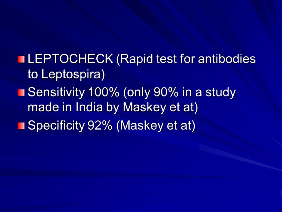 LEPTOCHECK (Rapid test for antibodies to Leptospira)