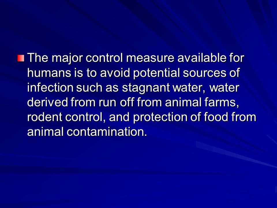 The major control measure available for humans is to avoid potential sources of infection such as stagnant water, water derived from run off from animal farms, rodent control, and protection of food from animal contamination.