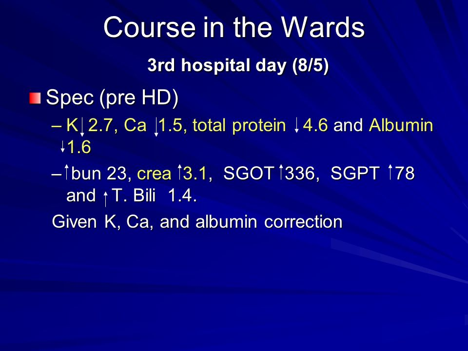 Course in the Wards 3rd hospital day (8/5)