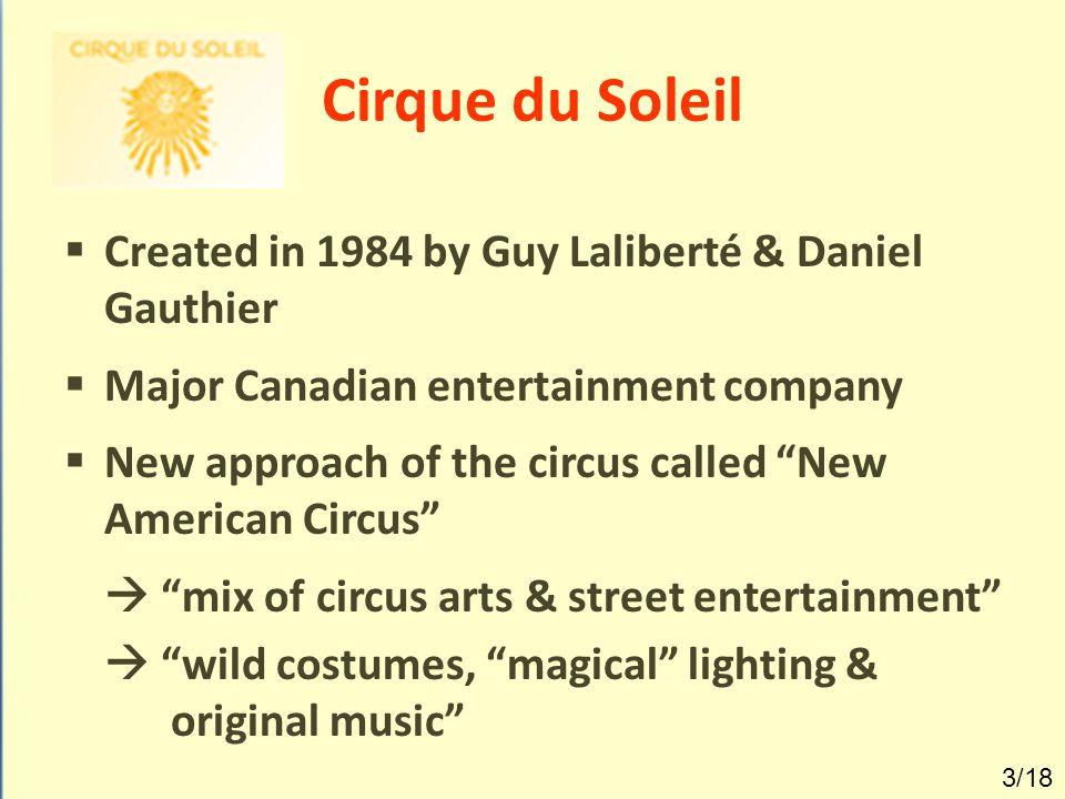 Cirque du Soleil Created in 1984 by Guy Laliberté & Daniel Gauthier