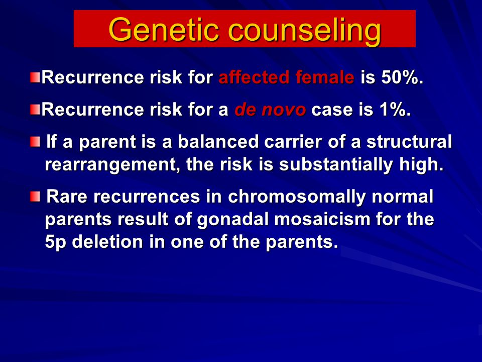 Genetic counseling Recurrence risk for affected female is 50%.