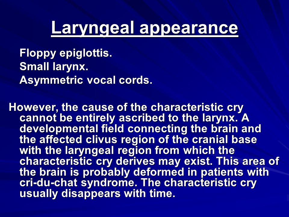 Laryngeal appearance Floppy epiglottis. Small larynx.