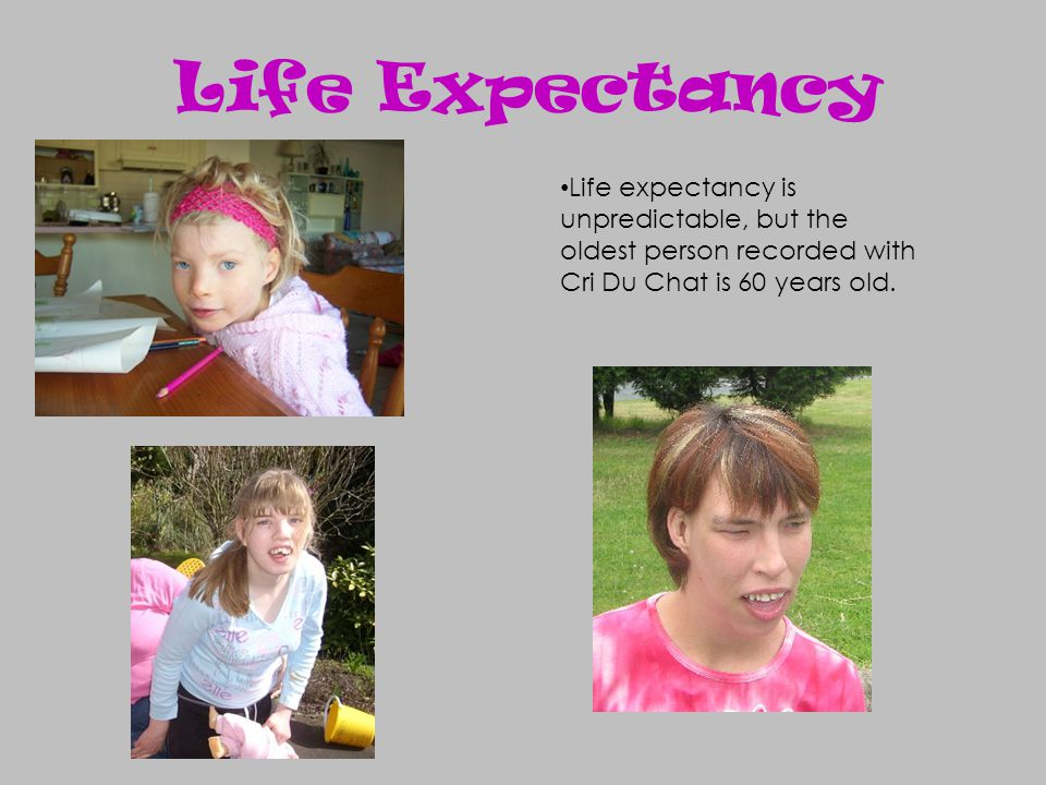 Life Expectancy Life expectancy is unpredictable, but the oldest person recorded with Cri Du Chat is 60 years old.