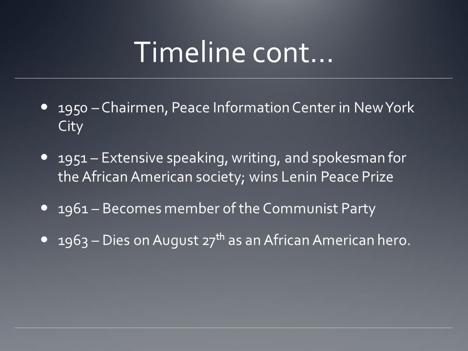 Timeline cont… 1950 – Chairmen, Peace Information Center in New York City.
