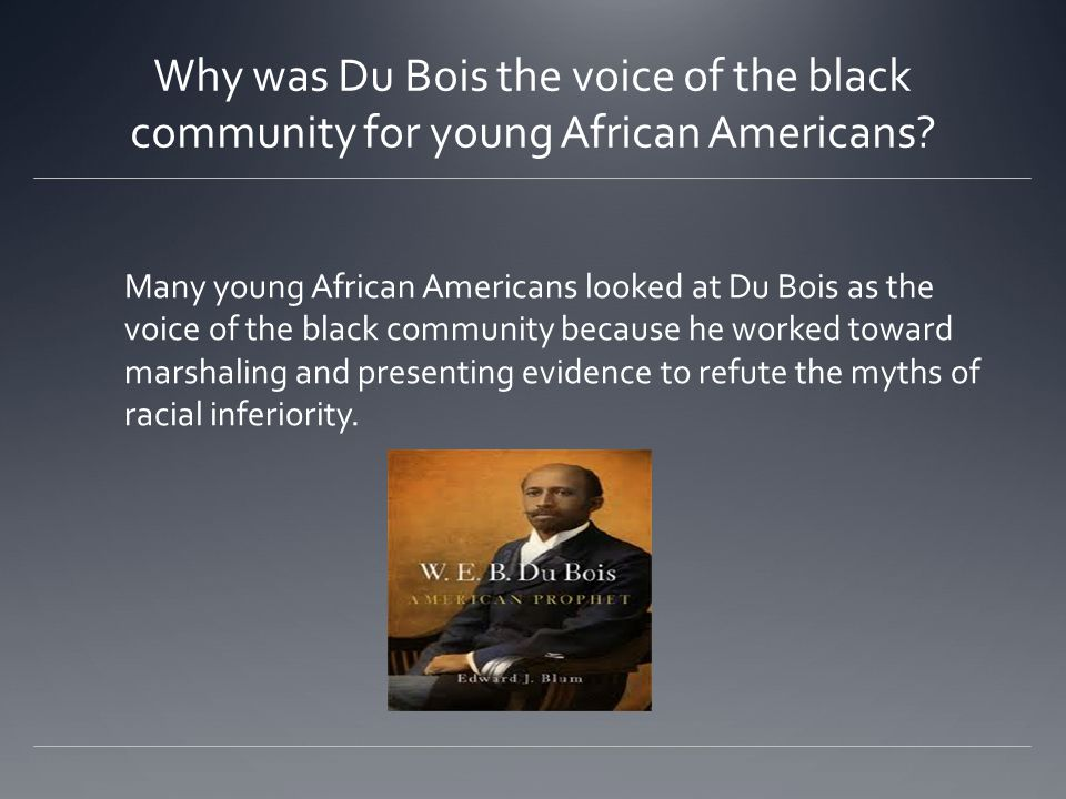 Why was Du Bois the voice of the black community for young African Americans