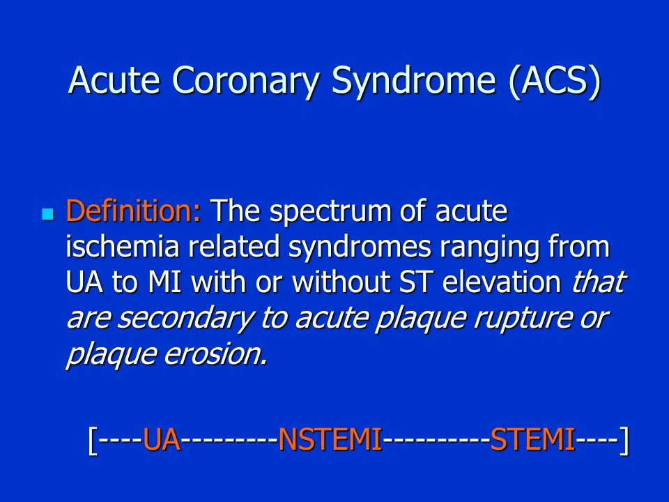 understanding acute coronary syndrome With both a heart attack and other forms of acute coronary syndrome (acs), a person may experience a sudden onset of chest pain, often radiating into the jaw, arm or.