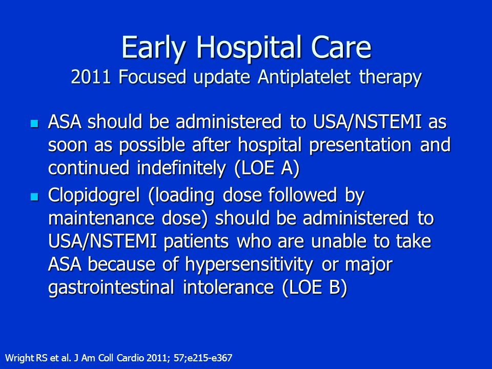 Early Hospital Care 2011 Focused update Antiplatelet therapy