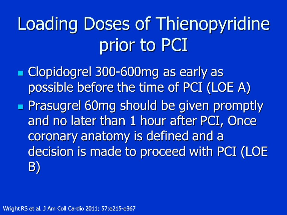 Loading Doses of Thienopyridine prior to PCI