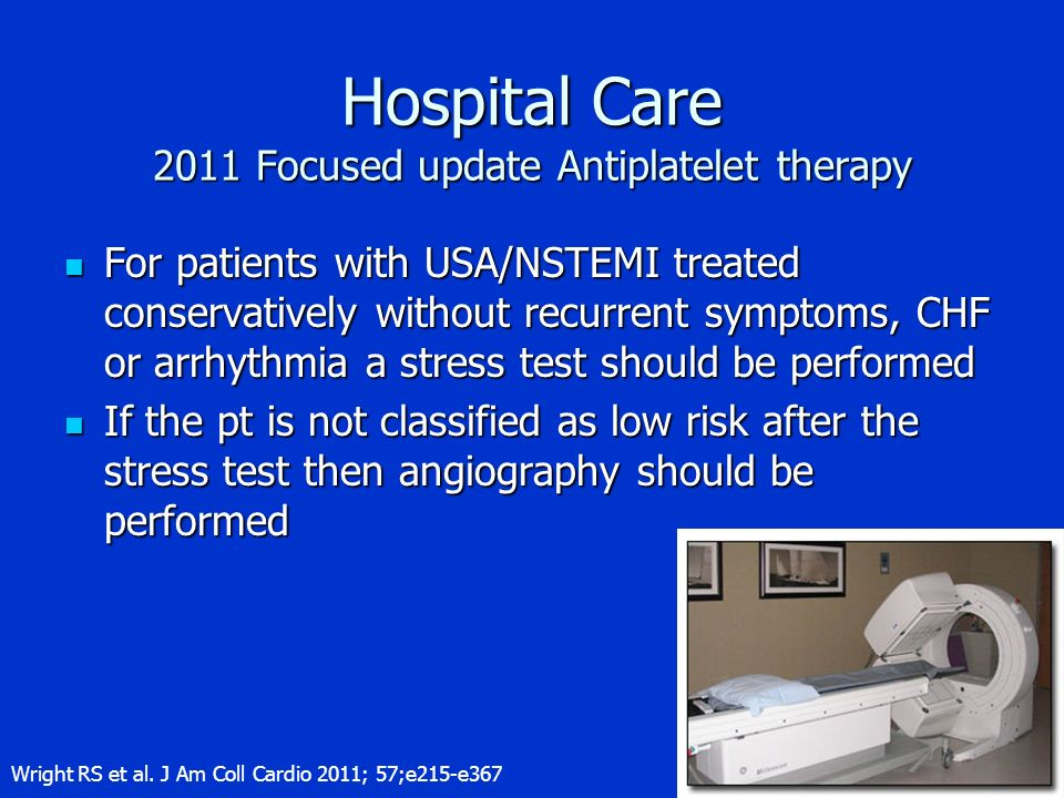 Hospital Care 2011 Focused update Antiplatelet therapy