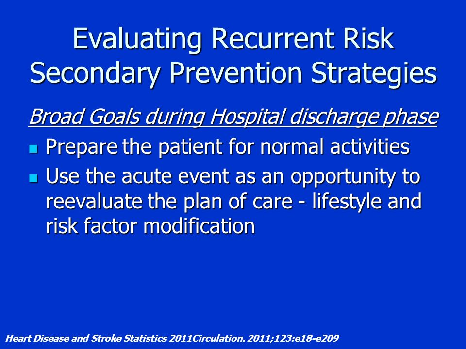 Evaluating Recurrent Risk Secondary Prevention Strategies