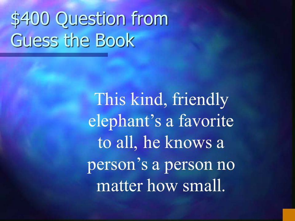 $400 Question from Guess the Book