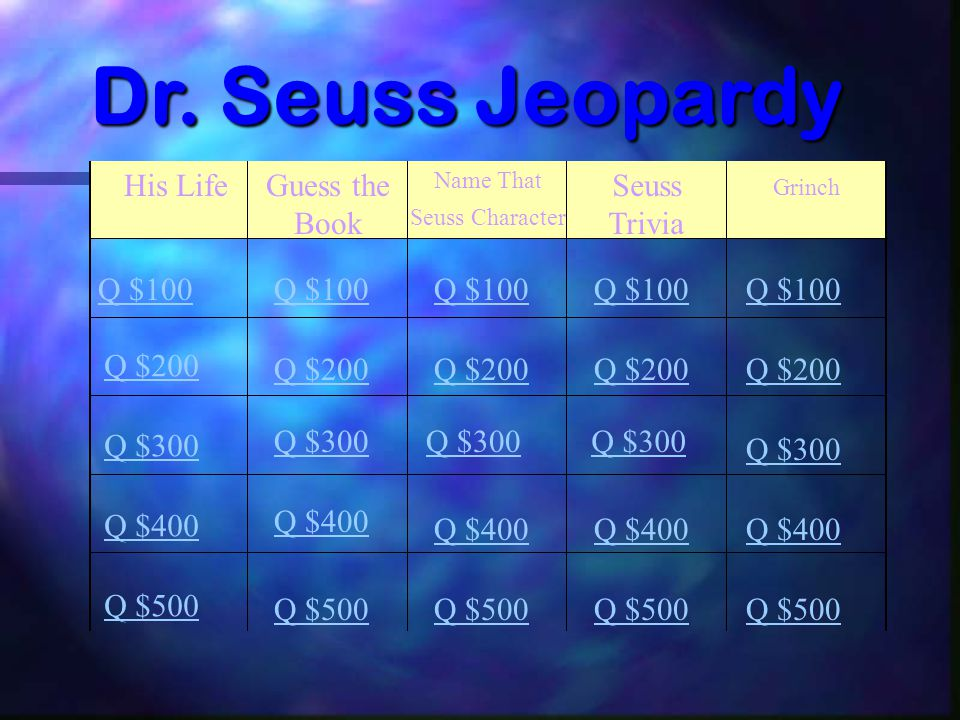 Dr. Seuss Jeopardy His Life Guess the Book Seuss Trivia Q $100 Q $100