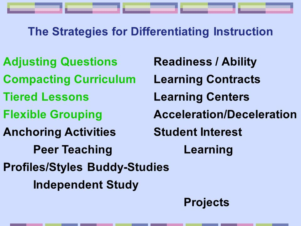 The Strategies for Differentiating Instruction