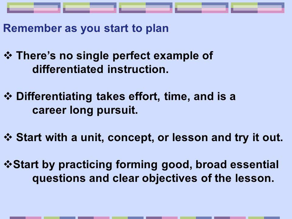 Remember as you start to plan