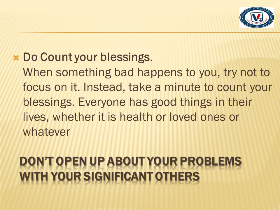 Do Count your blessings