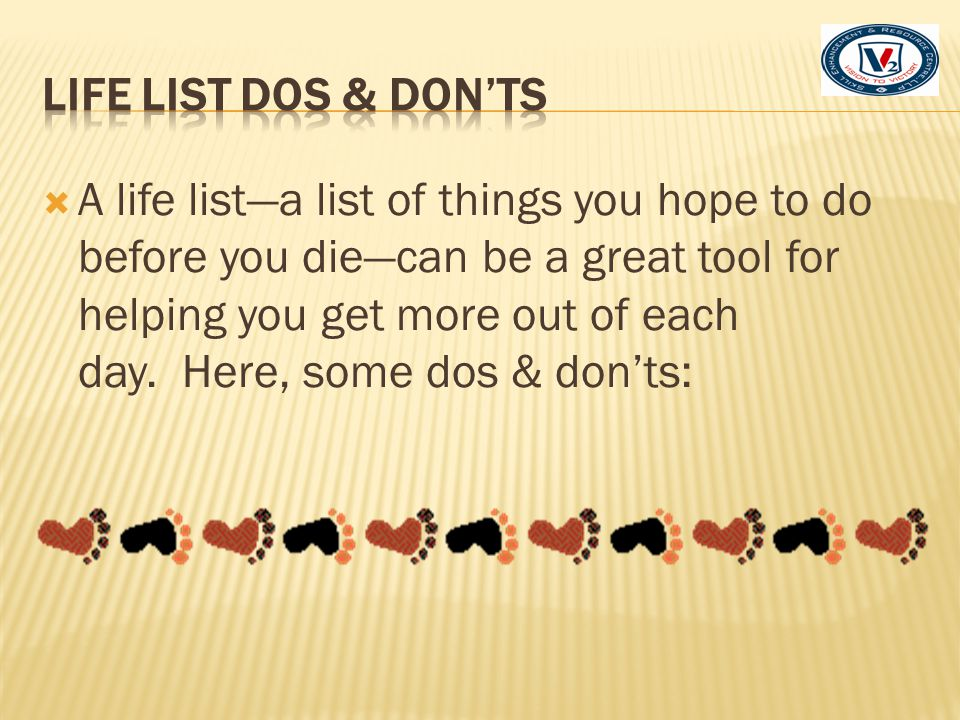Life List Dos & Don'ts